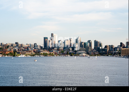 A late afternoon view of Seattle with Lake Union in the foreground. - Stock Photo