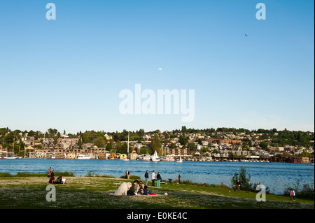 Gas Works Park overlooks Lake Union and a large portion of Seattle, including the Eastlake neighborhood. - Stock Photo