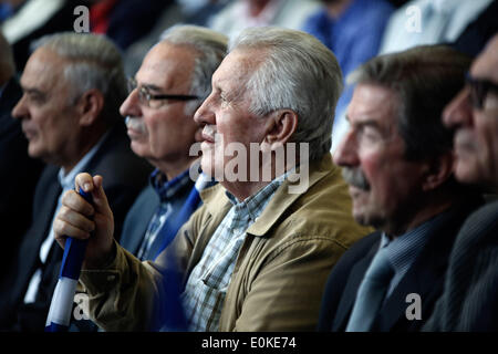 Thessaloniki, Greece . 15th May, 2014. New Democracy political party supporters attends the event. Greek Prime Minister - Stock Photo
