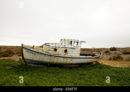 The Edith-E, a boat sits ashore in the Port Sonoma Marina in Petaluma, California. - Stock Photo