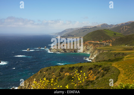 A view of the coastline along Highway One in Big Sur, California. - Stock Photo