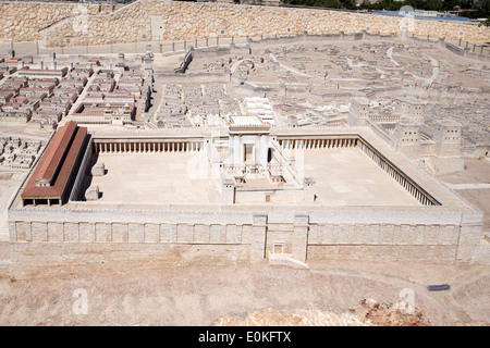 Model of the Jewish Temple in the time of Herod, part of a model of Jerusalem from Jesus time - Stock Photo
