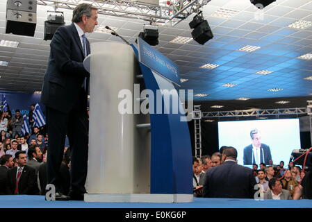 Thessaloniki Greece, 15th May, 2014.   Greek Prime Minister Antonis Samaras addressed his party faithful in Thessaloniki, - Stock Photo