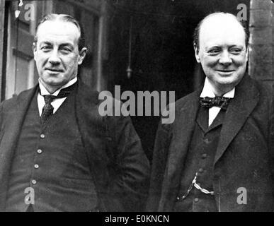 Stanley Baldwin and Sir Winston Churchill in London, England - Stock Photo