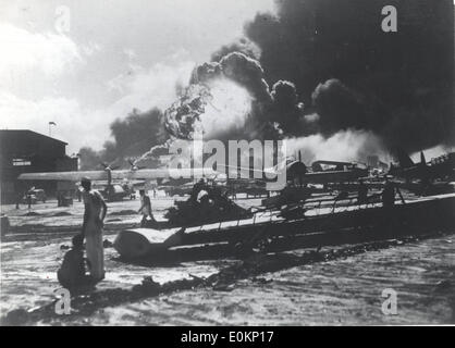 Pearl Harbor after Japanese Kamikaze attacks - Stock Photo