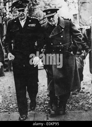 Sir Winston Churchill and President Eisenhower at Normandy - Stock Photo