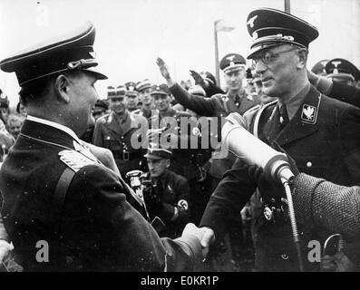 Hermann Goering greeted by Dr. Arthur Seyss-Inquart - Stock Photo
