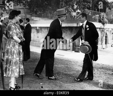 Actor Laurence Olivier and R.A. Butler at a Garden Party - Stock Photo