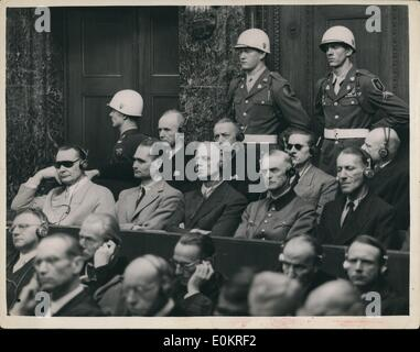 Sep. 09, 1946 - Judgement Day At Nuremberg - Goering Listens To The Summary.. Hermann Goering and 20 other disciples - Stock Photo