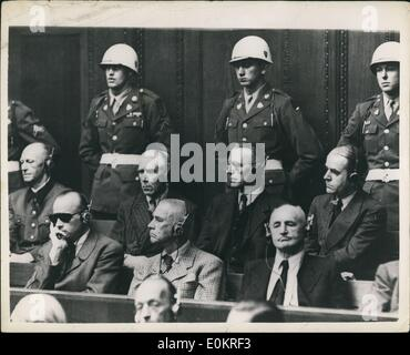 Sep. 09, 1946 - Judgement Day At Nuremberg Defendants Hear Verdict: Some of the chief defendants seen in the dock - Stock Photo