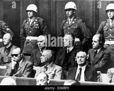 Some of the chief defendants seen seated in the dock at Nuremberg during the greatest war trial in history - Stock Photo