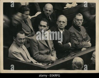 Oct. 10, 1946 - They know their fate. Five of the chief Nazis in Dock during stages of trail at Nuremberg. Five - Stock Photo