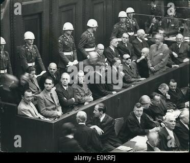 Oct. 10, 1946 - They Know Their Fate!!! Five Of The Chief Nazis In Dock During Final Stages Of Trial At Nuremberg: - Stock Photo
