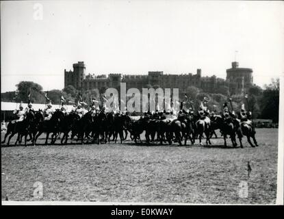 May 05, 1950 - Royal Windsor Horse Show-First Day: Photo shows. View of the Musical Ride at the Royal Windsor Horse - Stock Photo