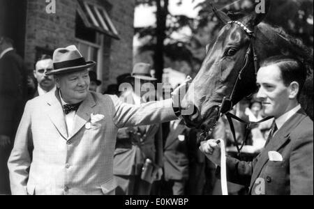 Sir Winston Churchill pets horse at races