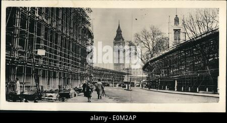 Apr. 04, 1953 - The Changing Face of Westminster.... London Becomes A ''Steel City''... Scaffolding everywhere... - Stock Photo