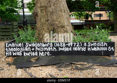 A memorial to Emanual Swedenborg on the site of the Swedish Church graveyard in East London where he was originally - Stock Photo