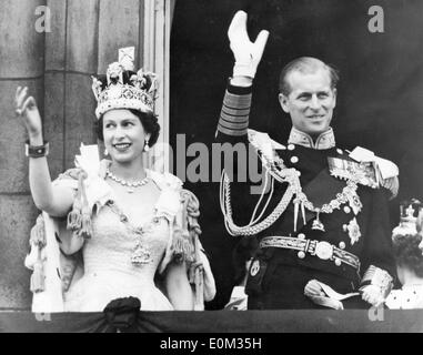 Queen Elizabeth II and Prince Philip after her coronation - Stock Photo