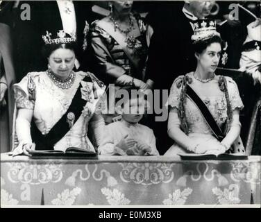 Jun. 06, 1953 - Coronation of Queen Elizabeth II in Westminster Abbey, Prince Charles watches the ceremony. Photo - Stock Photo