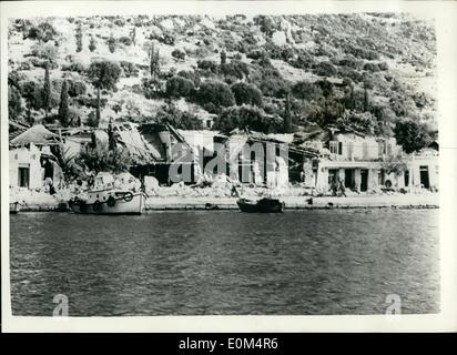 Aug. 08, 1953 - The Greek Earthquake Disaster. Photo shows One of destroyed villages on the island of Ithaka. - Stock Photo
