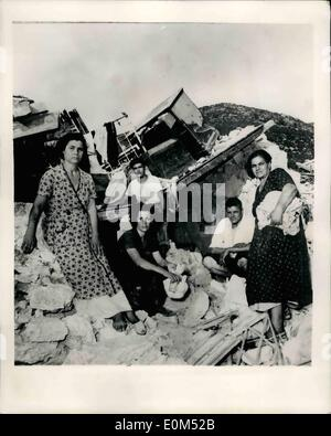 Aug. 08, 1953 - The Greek Earthquake Disaster Whole Towns Slide Into Sea: More tremors rocked the Greek islands - Stock Photo