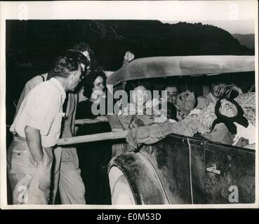 Aug. 08, 1953 - The Greek earthquake disaster. Photo Shows: Some of the injured from a village on the island of - Stock Photo