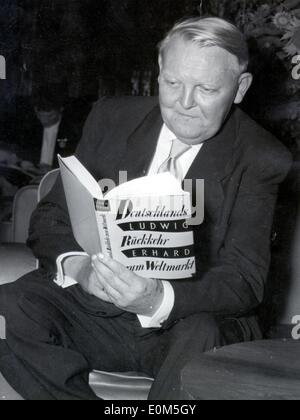 Ludwig Erhard reading a book - Stock Photo