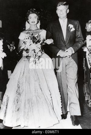 President John F. Kennedy marries Jackie - Stock Photo