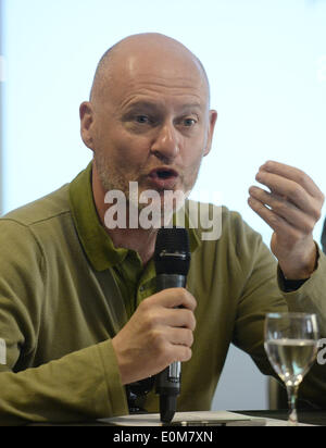 Cannes, France. 16th May, 2014. Jean-Paul Salome, President of French film export board UniFrance, addresses a China - Stock Photo