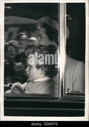 Apr. 04, 1954 - The Royal Children at Waterloo, Princess Anne with the Queen Mother; Photo Shows Princess Anne seated - Stock Photo
