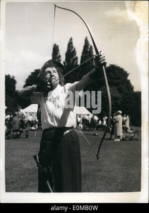 Jul. 07, 1954 - Archers hold their United Kingdom championships. The Eighty Eight year old Competitor: The United - Stock Photo