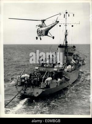 Jul. 22, 1954 - The Navy's Flying Postman Helicopter Delivers Mail To Ships In Nato Exercise: A Fleet Air Arm helicopter - Stock Photo