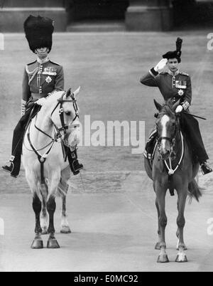 Queen Elizabeth II and Prince Philip during Trooping the Colour - Stock Photo