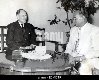 Sep. 20, 1954 - Rome, Italy - Marshal JOSIP BROZ TITO in a meeting with ROBERT MURPHY after announcing Yugoslavia - Stock Photo