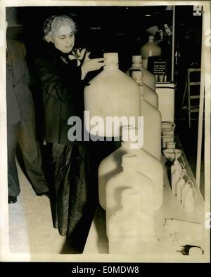 Jan. 01, 1955 - Opening Of The Packaging Exhibition. Mrs. Pandit With Polythene Carboy: The new High Commissioner - Stock Photo