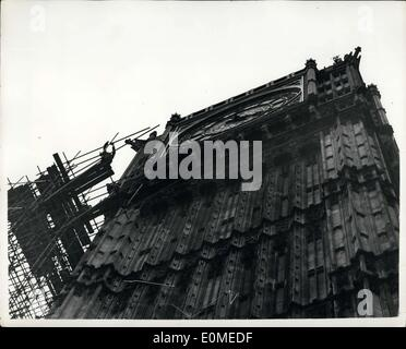Jan. 02, 1955 - Scaffolding Goes Up On Big Ben Repair Work Goes Ahead : Photo Shows The scene as the Scaffolding - Stock Photo