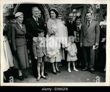 May 05, 1955 - King Gustav of Sweden as God Parent... Ceremony at Mersham - Kent... King Gustav of Sweden was God - Stock Photo