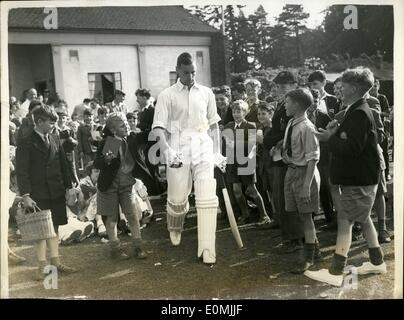 Jun. 06, 1955 - Youngsters rush out to get autograph from England's new captain - peter may. photo shows The seen - Stock Photo