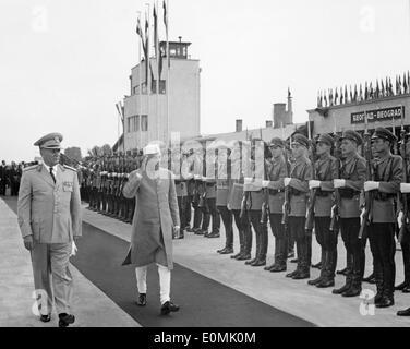 Jawaharlal Nehru and Josip Tito walking by the Guard of Honor - Stock Photo