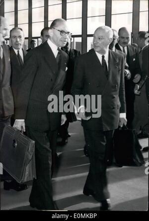 Oct. 10, 1955 - NATO council met to day in Paris :heavy program me at palais De chaillot in Paris, where the NATO - Stock Photo