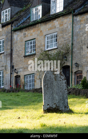 St Barnabas Churchyard and gravestones, Snowshill, Cotswolds, Gloucestershire, England - Stock Photo