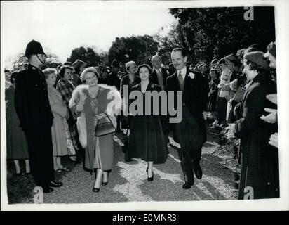 Apr. 04, 1956 - Royalty Attends Wedding:The wedding took palce today at St. Withburga's Church, Holkham, Norfolk, - Stock Photo