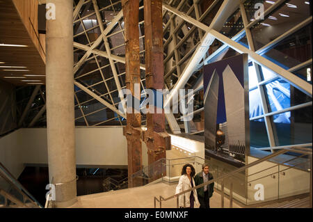 New York, NY, USA. 15th May, 2014. Escalators at the entrance to the National September 11 Museum lead past pieces - Stock Photo