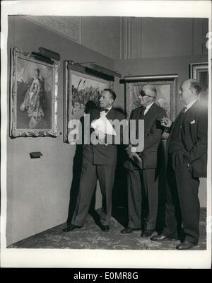 May 05, 1956 - Private vew of ''Pictures of an Industry'' Exhibition.: ''Picture of an Industry'' - an Exhibition - Stock Photo