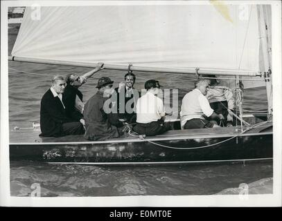 Aug. 08, 1956 - The Duke of Edinburgh and King Feisal go for a Sail at Cowes. OPs: King Feisal of Irak (facing camera) - Stock Photo
