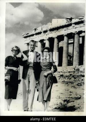 Jun. 09, 1956 - Gary Cooper And Family In Athens.. Screen Star Views The Ruins.. Screen star Gary Cooper - with - Stock Photo