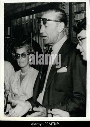 Jun. 22, 1956 - Gary Cooper Goes Shopping - In Italy. Star On Holiday: Popular American sen star Gary Cooper with - Stock Photo