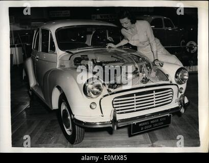 Oct. 10, 1956 - PREVIEW OF THE EARLS COURT MOTOR SHOW. THE NEW MORRIS MINOR.. hoto Shows:- Model Jinja Blakeley - Stock Photo