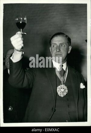Oct. 10, 1956 - Tasting Of French Wines In London. The Lord Mayor Takes Part: The Annual Tasting of French Wines - Stock Photo