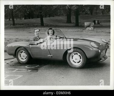 Oct. 10, 1956 - Fibre Glass Sports Car Enters Low Price Field. British Designer. Lawaence Bond, already known in - Stock Photo